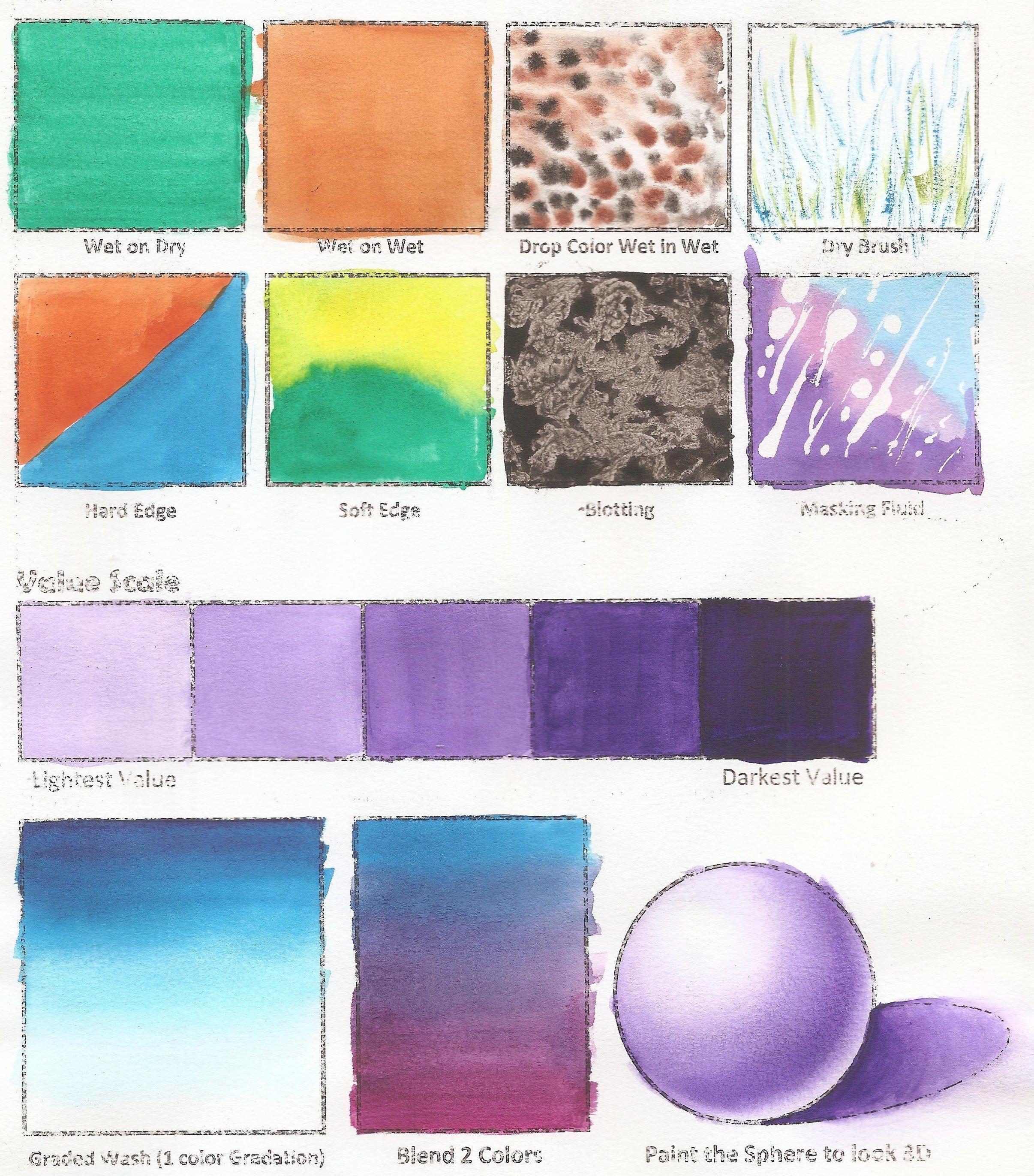 High School Watercolor Worksheet