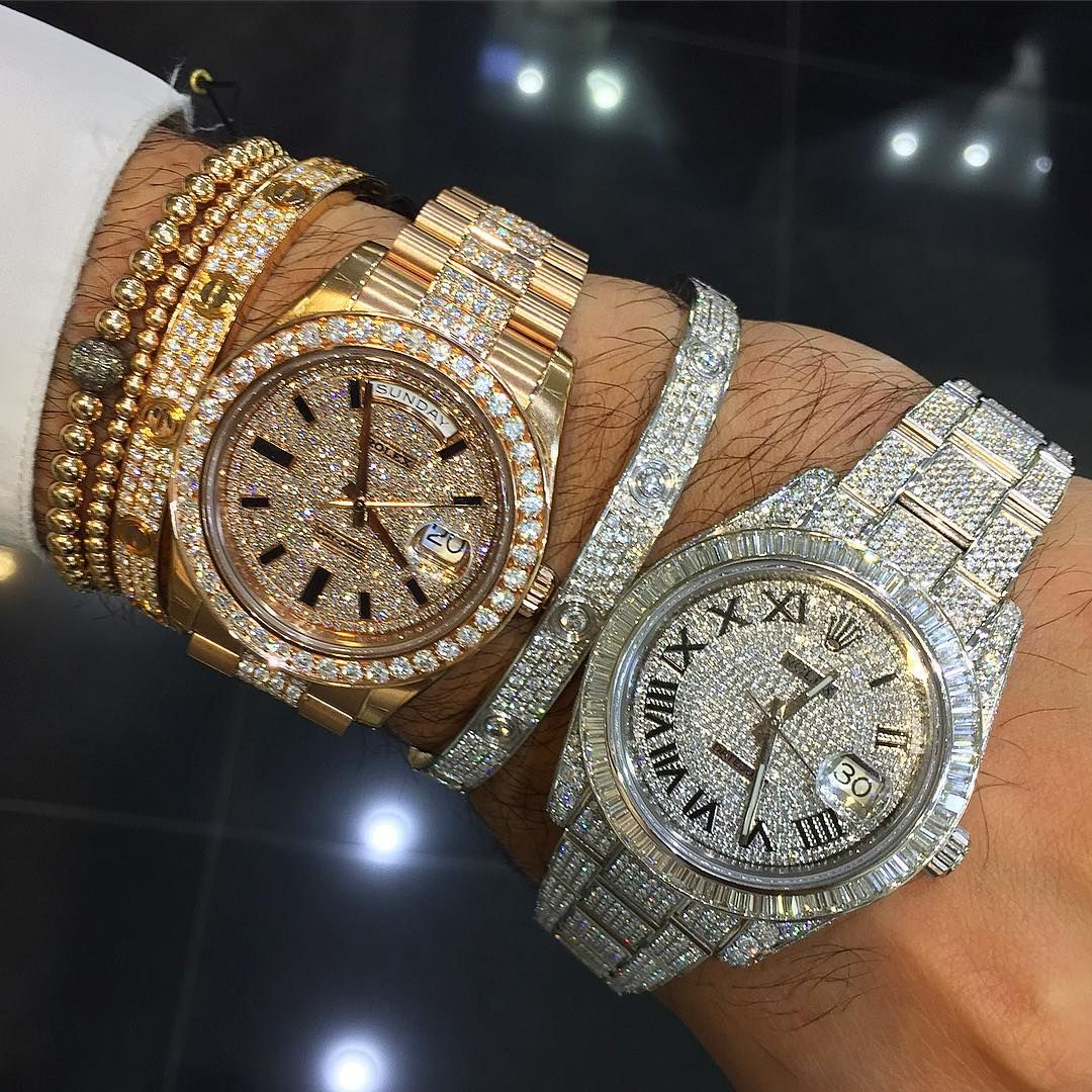 """""""Icy hand... Which combo would you pick   aftermarketsetteddiamonds  rolex   cartier"""" 45efeafd4"""