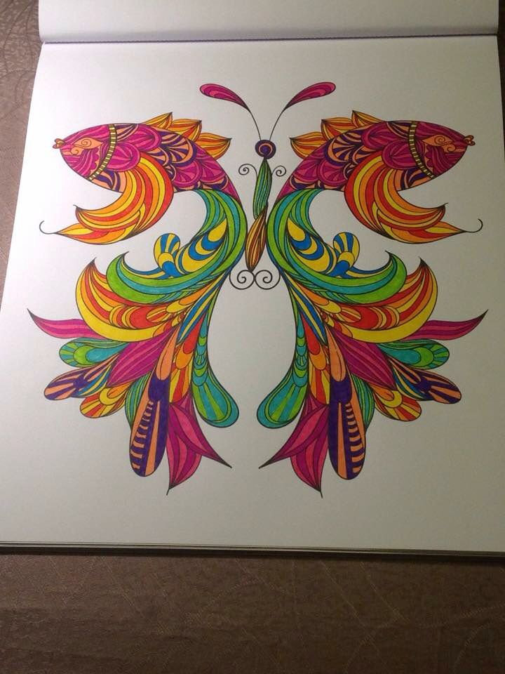 gekleurde vissen in spiegelbeeld kleurplaten kleurboek