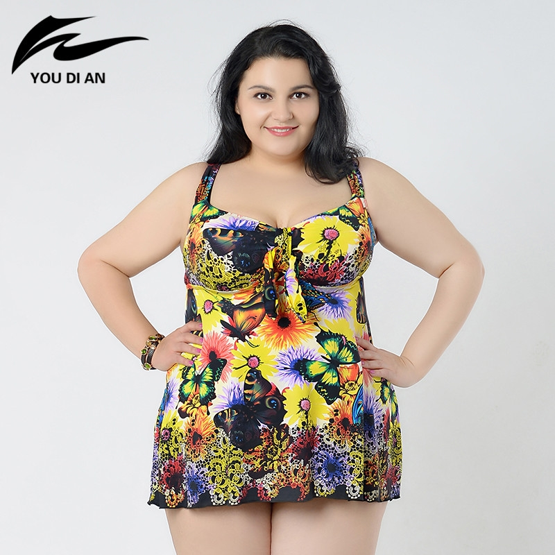 20ad0b2e6e iisport Sexy V-neck Swimsuit Multicolored Flower Printed Swimwear Two-piece Plus  Size Swim Skirt and Thong