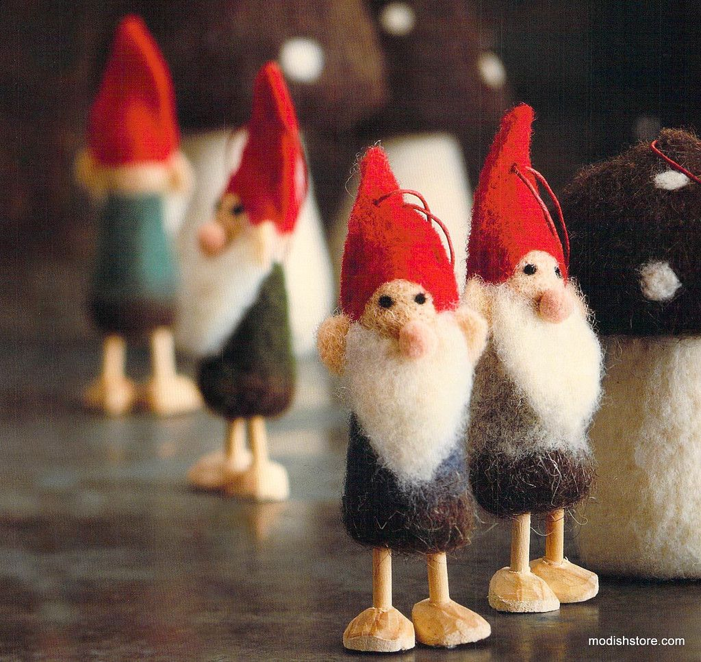 Roost Wooly Gnome Ornaments Needle Felted Christmas Gnome Ornaments Ornaments