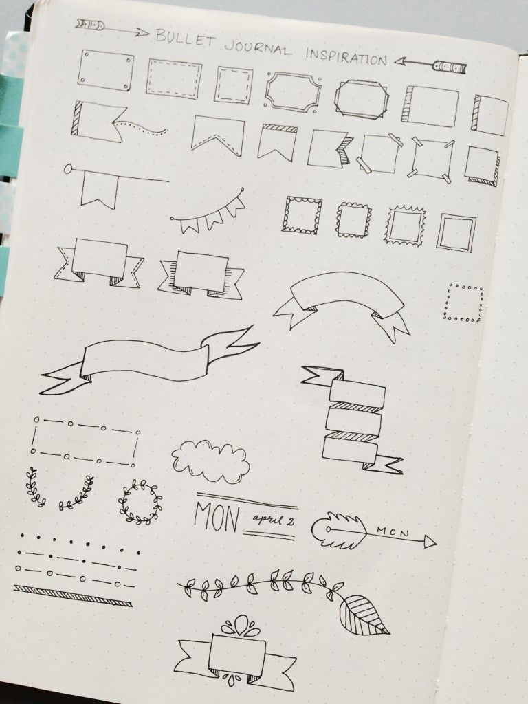 Bullet journal inspiration banners and dividers doodling ideas