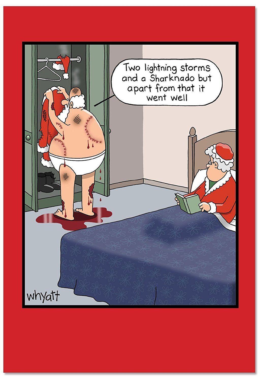 B2492XSG Box Set of 12 Box Of Santa Sharknado Christmas Cards Funny Christmas | eBay