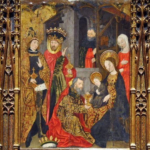 medievallove: Pintura de los Tres Reyes Magos visitan el Niño Jesús.  por Monestirs puntCAT en Flickr.
