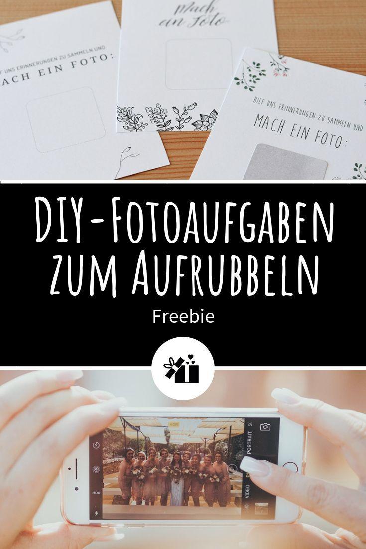 Hochzeitsidee: DIY-Fotoaufgaben zum Aufrubbeln #diyideas