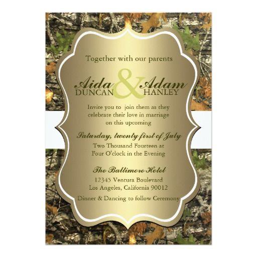 Elegant Camo Wedding Ideas: Elegant Lavish Gold Rustic Camo Wedding Invitation