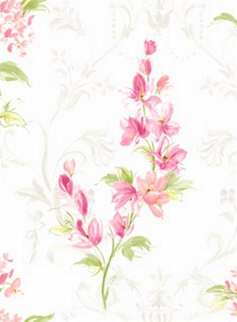 Pink and White Mimi Floral Wallpaper, SBK22234