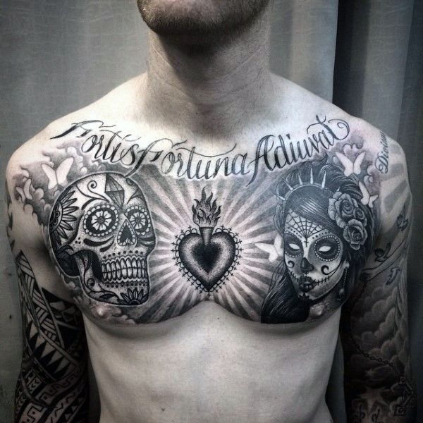 100 Sugar Skull Tattoo Designs For Men Cool Calavera Ink Ideas Chest Piece Tattoos Skull Tattoo Chest Tattoo Men