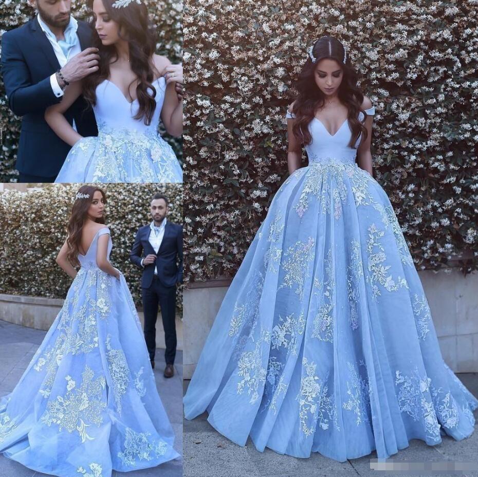 Evening Dresses Pocket Design Lace Applique Ball Gown Prom Dress 2018  Modest Dubai Arabic Off-shoulder Luxury Train Princess Occasion 53fdd17da12c