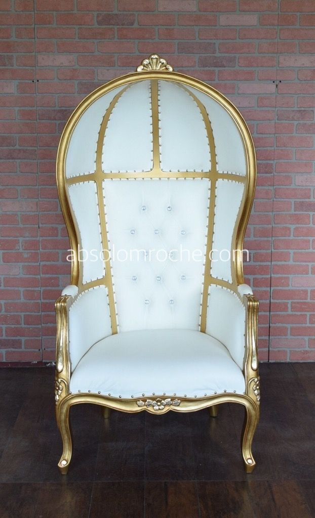 Flash Sale Victoire Canopy Balloon Chair Gold White