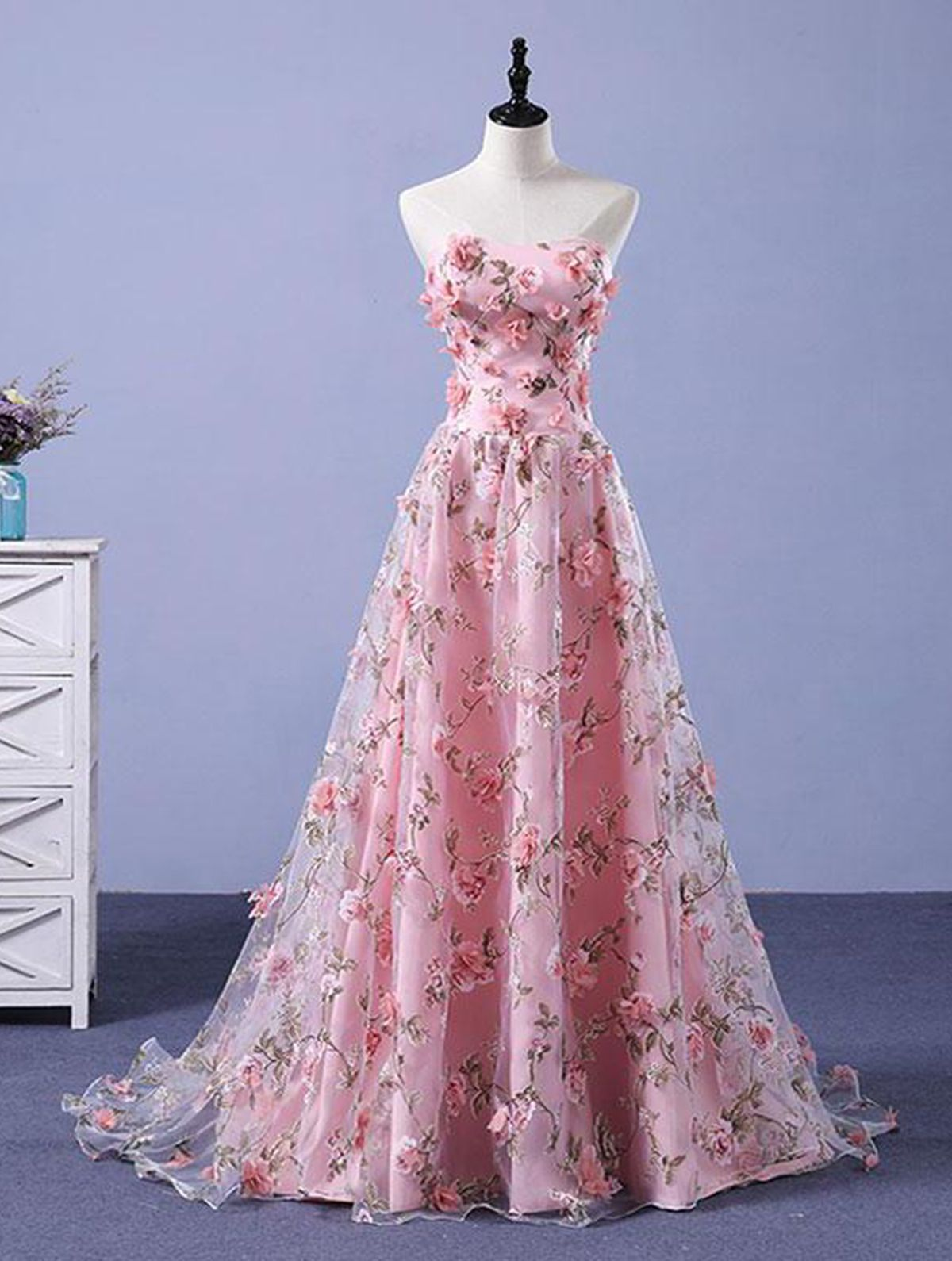 Pink foral lace strapless d flower appliques sweet prom dresses