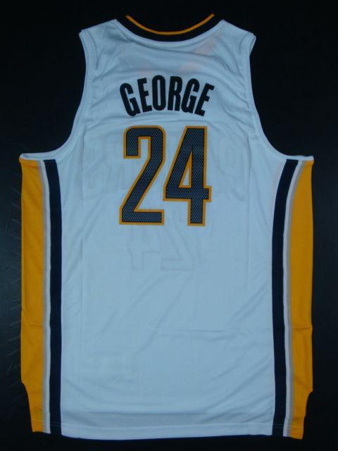 5b2409036 Adidas NBA Indiana Pacers 24 Paul George New Revolution 30 Swingman Home  White Jerseys
