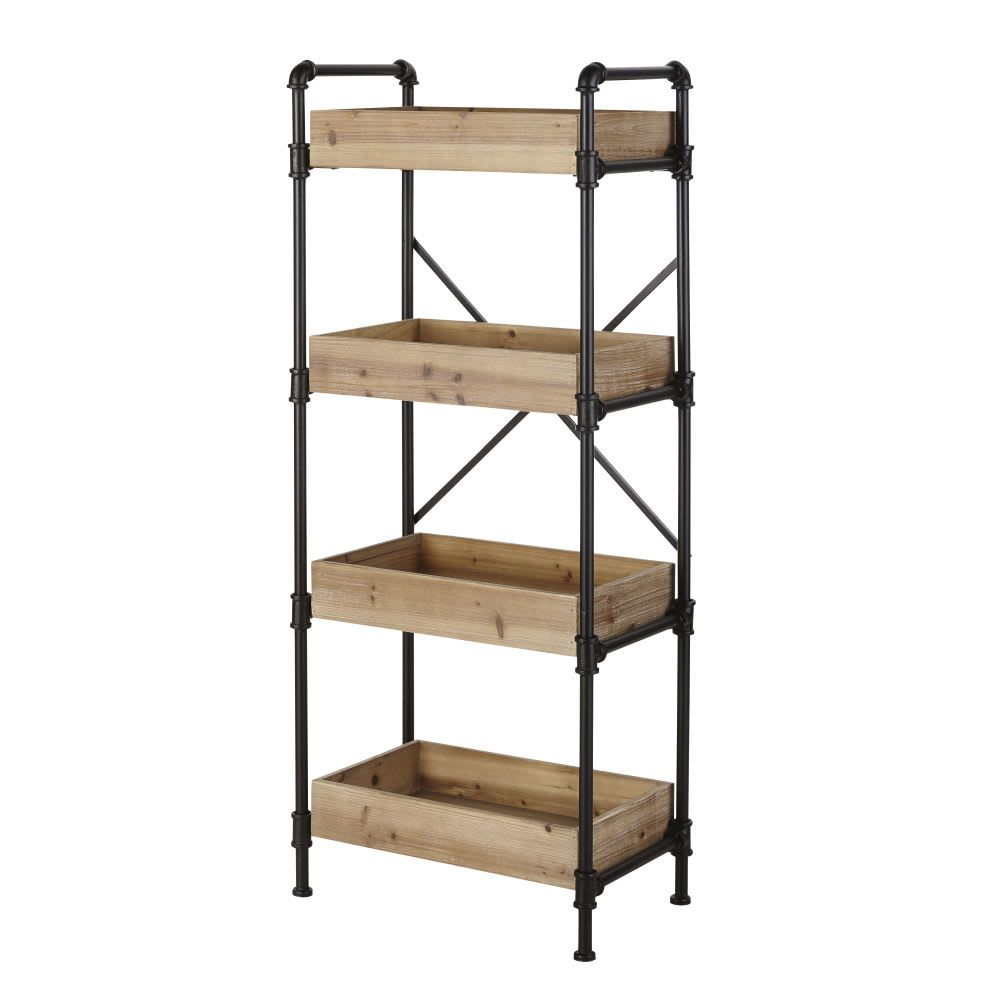 Wayne Etagere Indus En Metal Noir H131 X L54 5 X P32 5 Cm 13 Kg Maisons Du Monde 119 Industrial Shelving Units Shelving Unit Black Metal Shelf