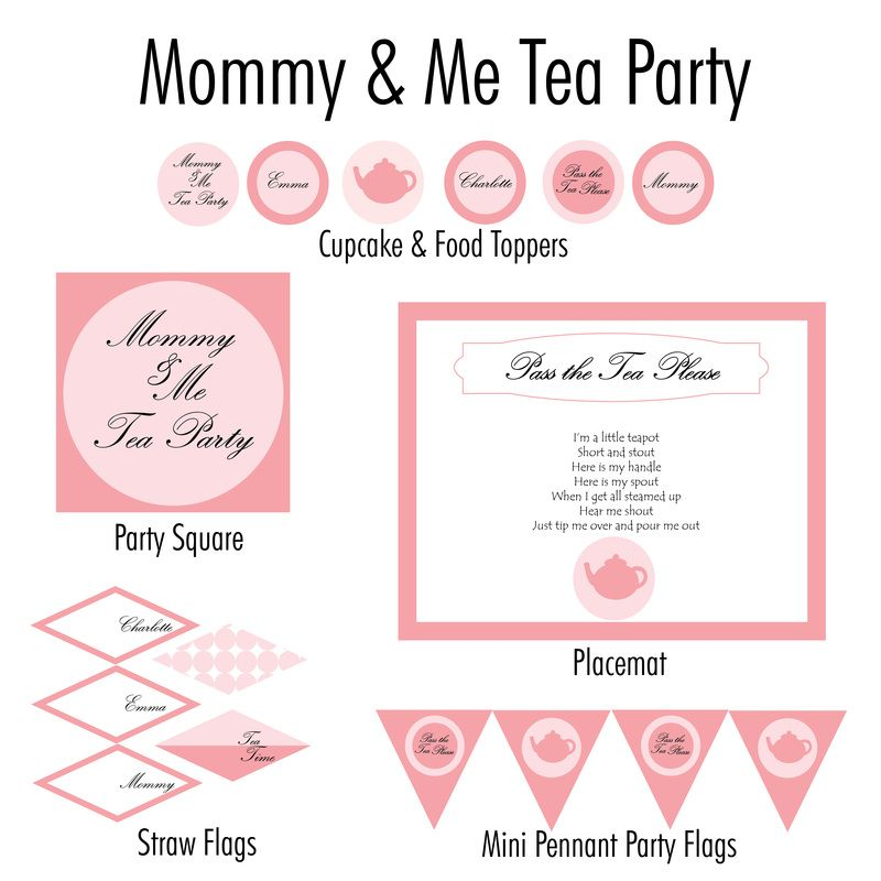 Mommy & Me Tea Party customized printables | Mother\'s Day ...