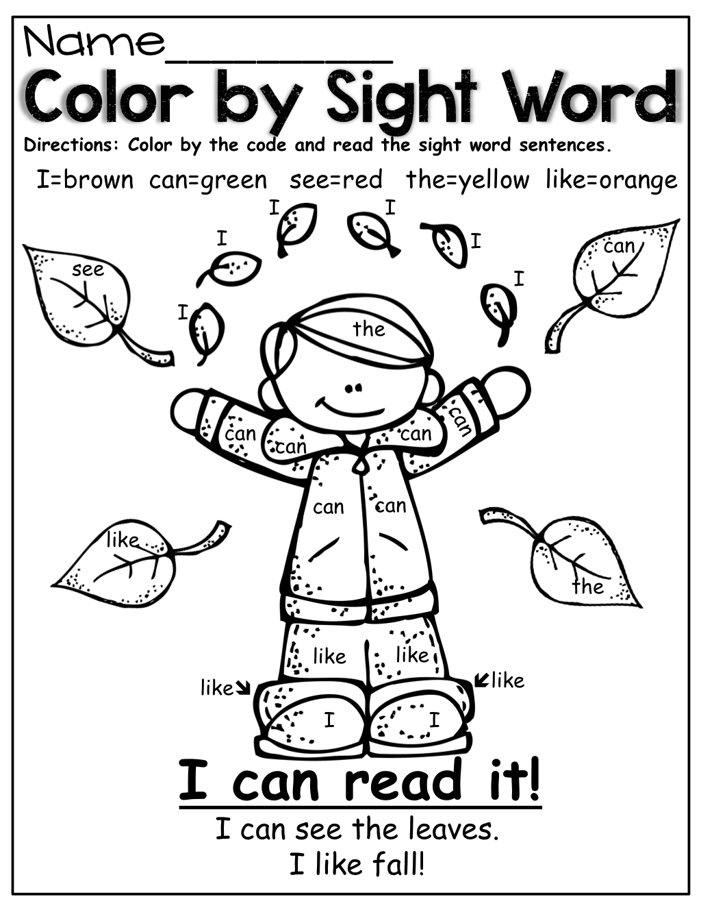 Color By Sight Word Fall Style Sight Word Coloring