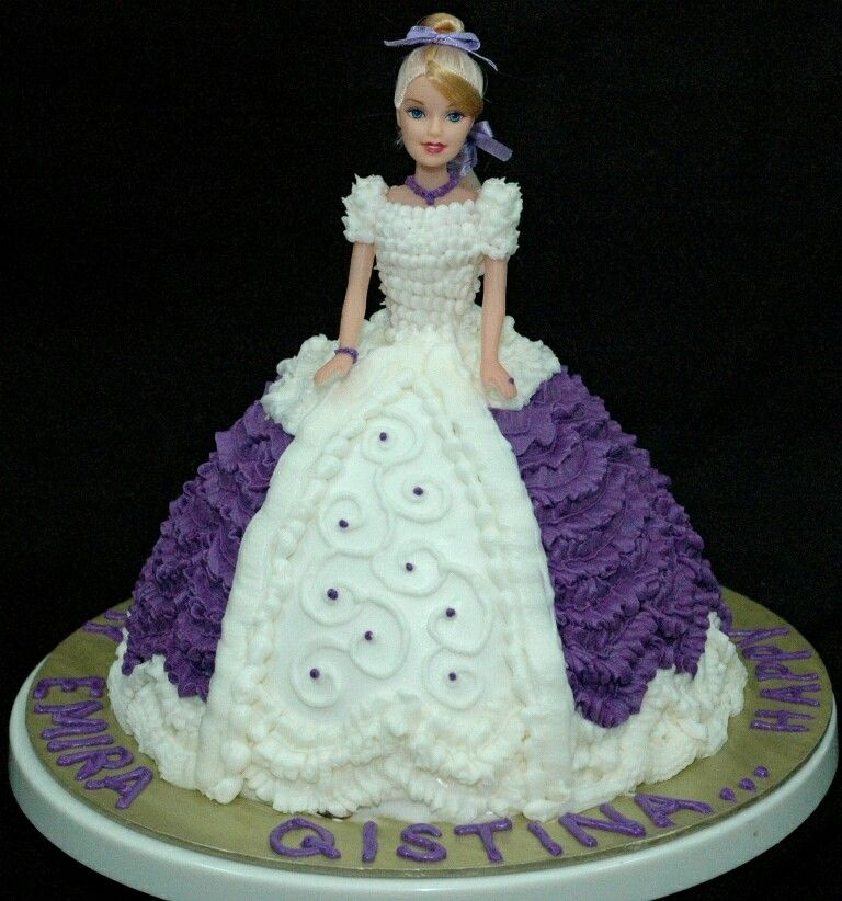 Barbie Doll Cake Decorating Ideas : Fancy Buttercream Iced Purple and White Barbie Doll Cake ...