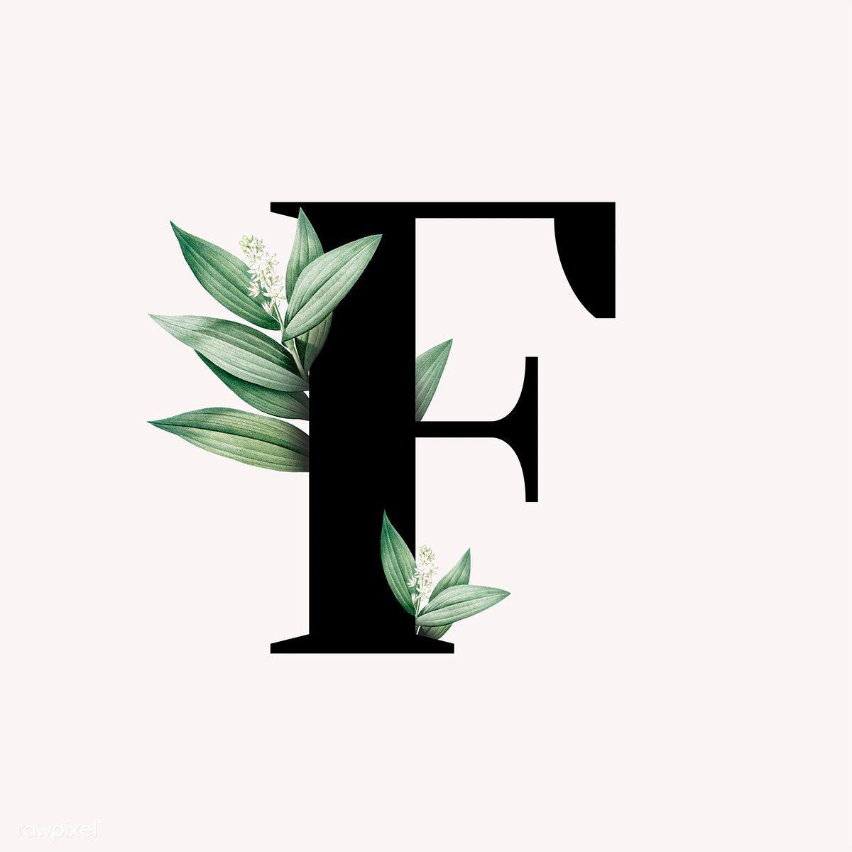 Download Premium Illustration Of Botanical Capital Letter F Illustration Lukisan Huruf Logo Bunga Lukisan Bunga