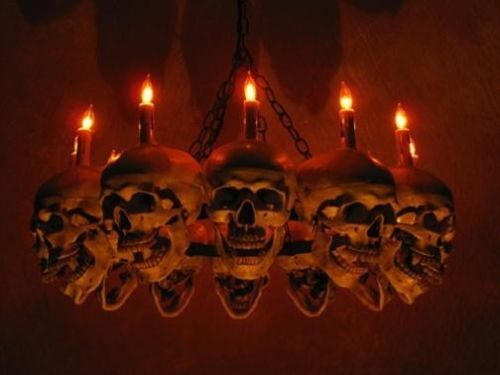LIFE-SIZE SKULL CHANDELIER - HALLOWEEN DECORATION - HALLOWEEN - halloween decorations haunted house
