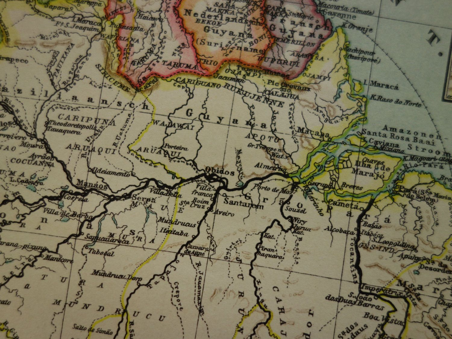 Antique map of Brazil beautiful detailed