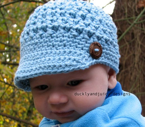 Crochet Baby Hat - Baby Boy Hat - Newsboy Cap with Brim and Button ...