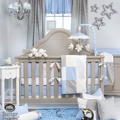 Baby Boy Blue White Gray Star Luxury Designer Crib Nursery Quilt ...