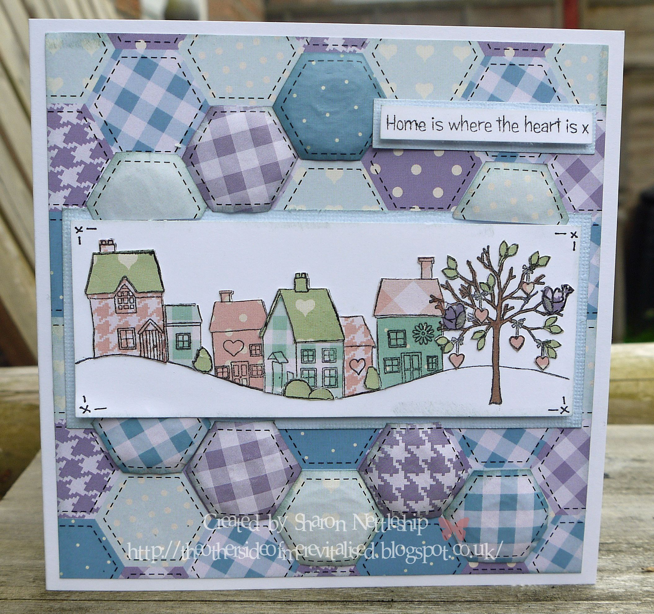"""""""At Home"""" stamp set and Quirky Quilts papers"""