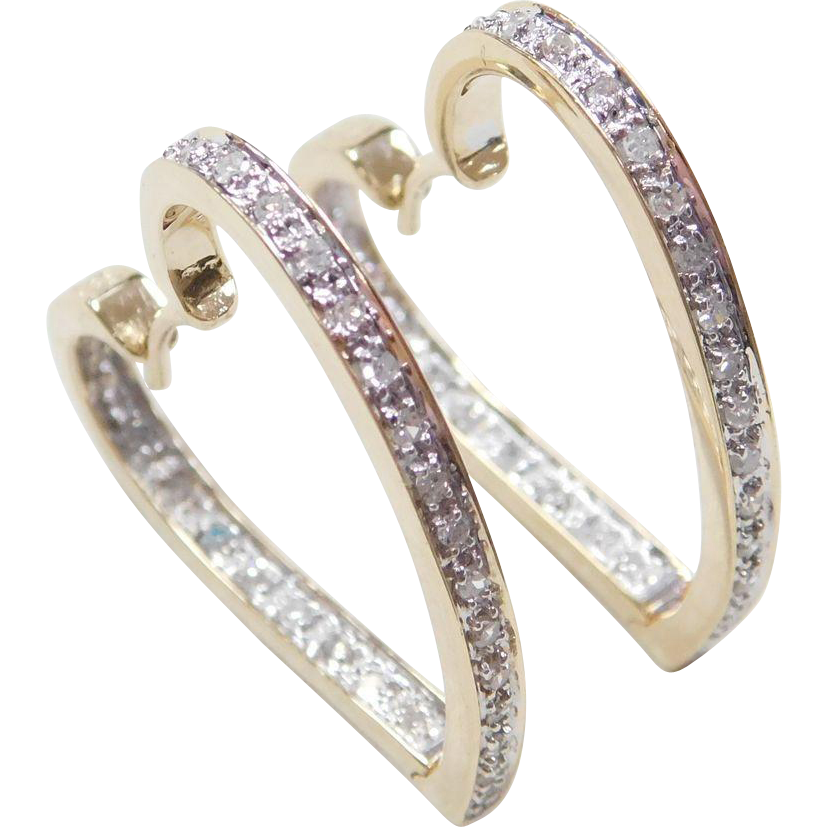 Item Vintage 14k Gold Two Tone Diamond Heart Hoop Earrings Composition Yellow And White Acid Tested Gem 26 Ctw Condition