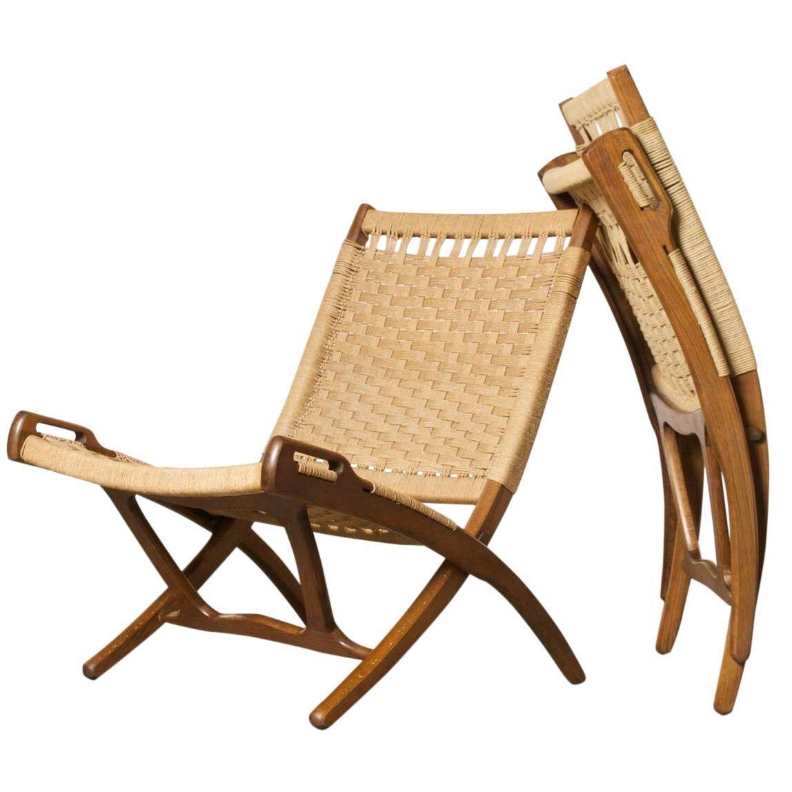 Image Of Hans Wegner Style Folding Rope Chairs A Pair Shezlong