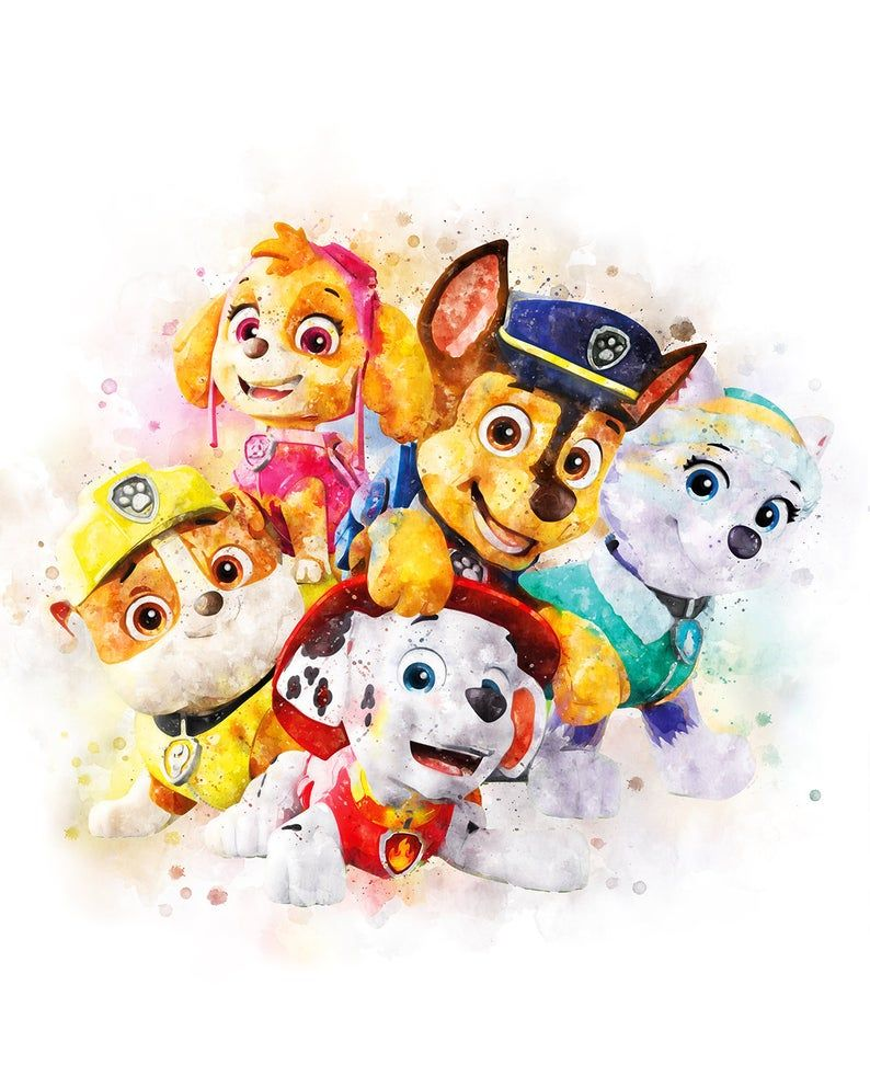 Paw Patrol Watercolor Art Print Chase Printables Zuma Marshall Etsy Printable Posters Art Watercolor Art Prints Watercolor Disney