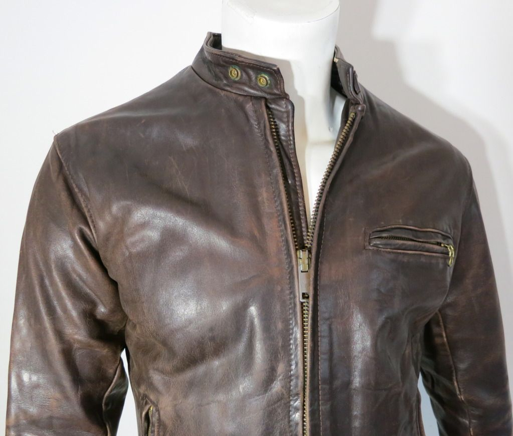Vintage SCHOTT 1970's Men's rugged cafe racer motorcycle jacket ...