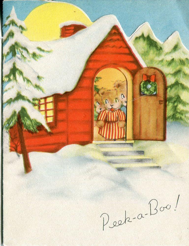 Vintage American Greetings Christmas Card: 3 Bears in a Cabin ...