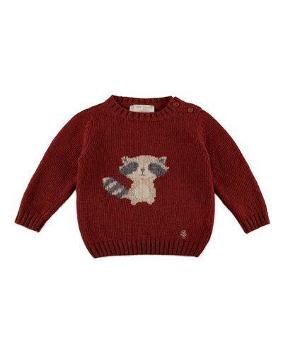 Long-Sleeve Raccoon-Intarsia Pullover Sweater, Rust, Size 12M-4
