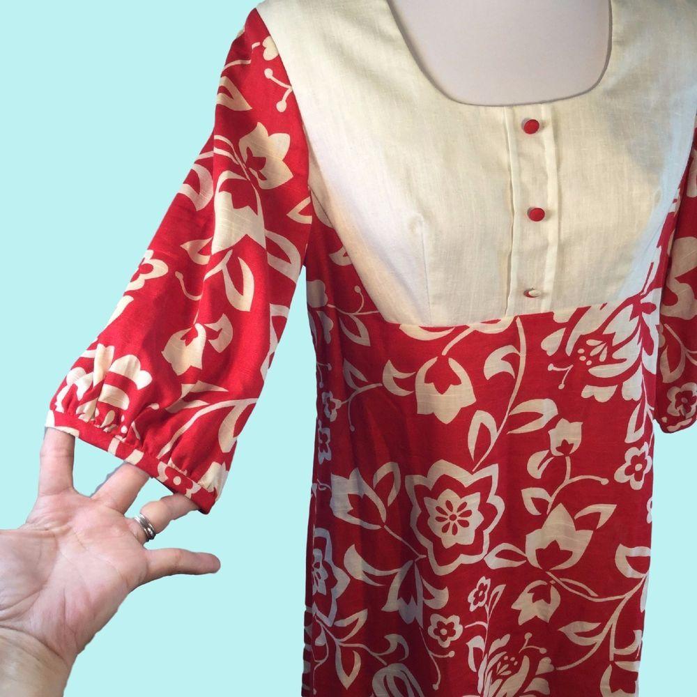 d7444c11360 Vtg Sears Hawaiian Fashions Maxi Dress Red Cotton Hippie Granny Chic Medium   SearsHawaiianFashions