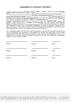 Free Simple Assignment Of Contract Interest Printable Real Estate