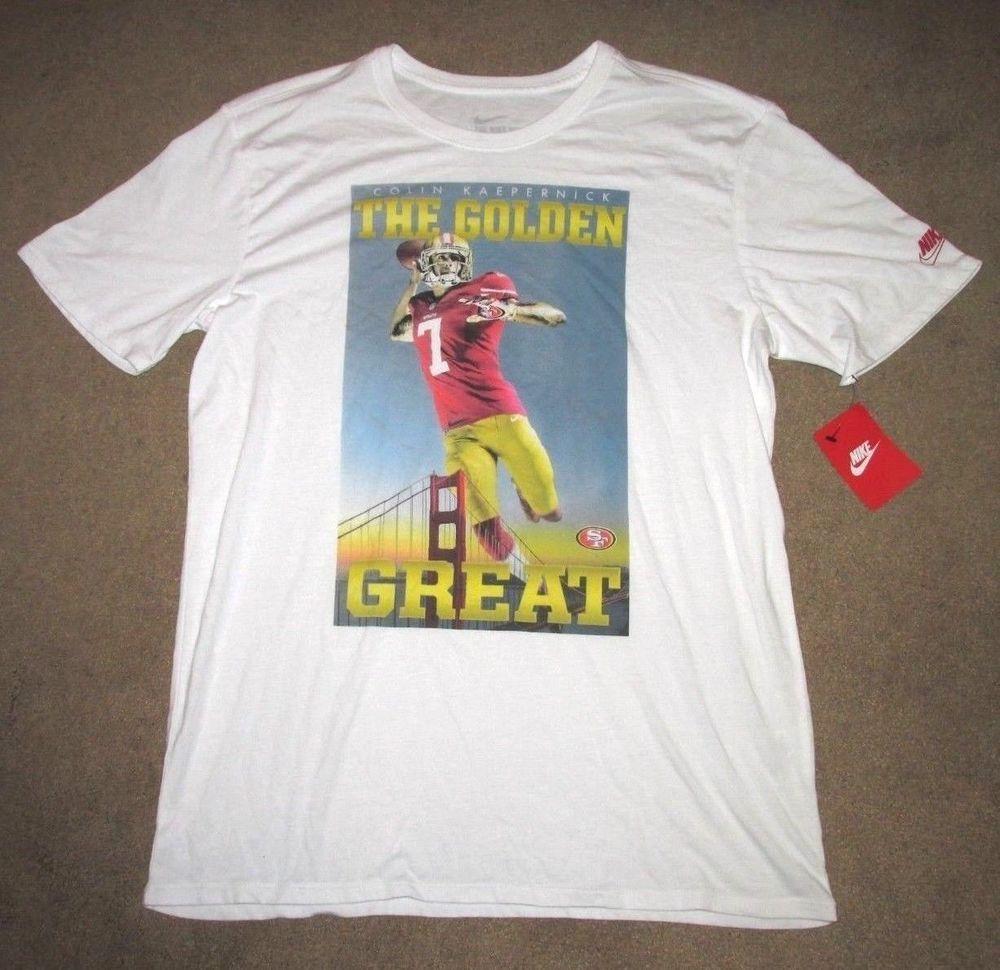 a75be1f91 Nike Colin Kaepernick The Golden Great 49ers Mens Shirt L White 666764 100   Nike  SanFrancisco49ers
