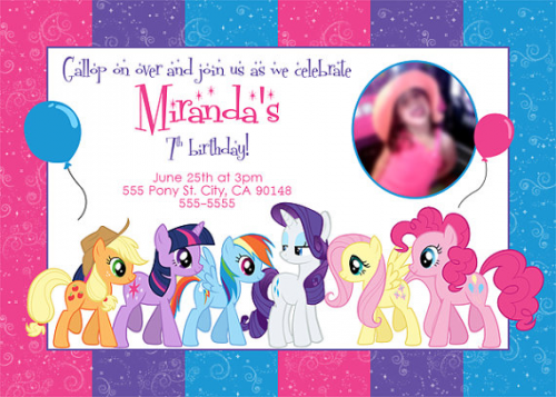 My Little Pony CustomizeIt Birthday Invitation Pinkie Pie by – My Little Pony Personalized Birthday Invitations