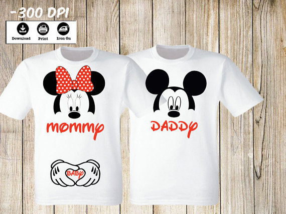 d8ad373a Personalized Minnie Mouse Mommy and Daddy of the Baby. Minnie Mouse Mom to  be Baby shirt Digital Iro