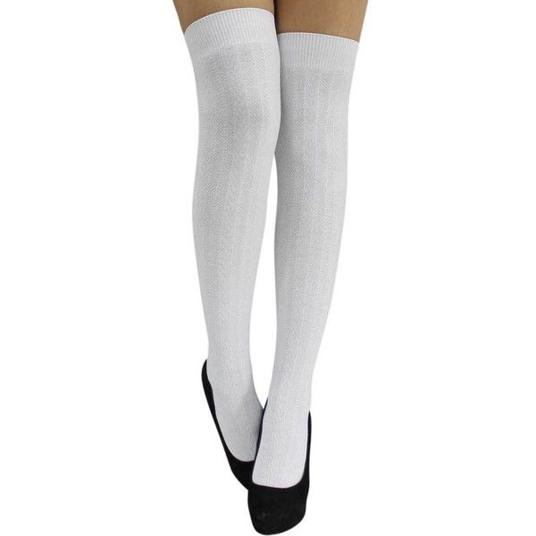 a8d542f9dcaa3 White Cable Knit Thigh High Over The Knee Socks (£8.76) ❤ liked on ...