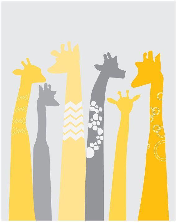 Large Scale Giraffe Nursery Decor Paper Print - Yellow and Grey ...