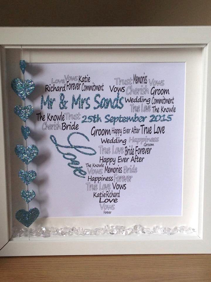 Wall art ~ Personalised wedding shadow box frame ~ word art love