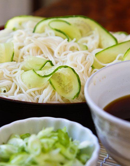 Hiyashi Somen (Japanese Chilled Somen Noodles with Dipping Sauce)