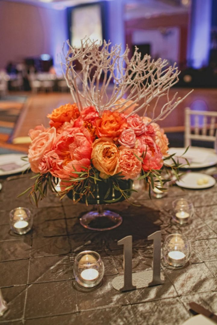 Modern coral navy chesapeake bay wedding coral centerpieces friend wedding modern coral centerpiece with a bit of seaside theme junglespirit Image collections