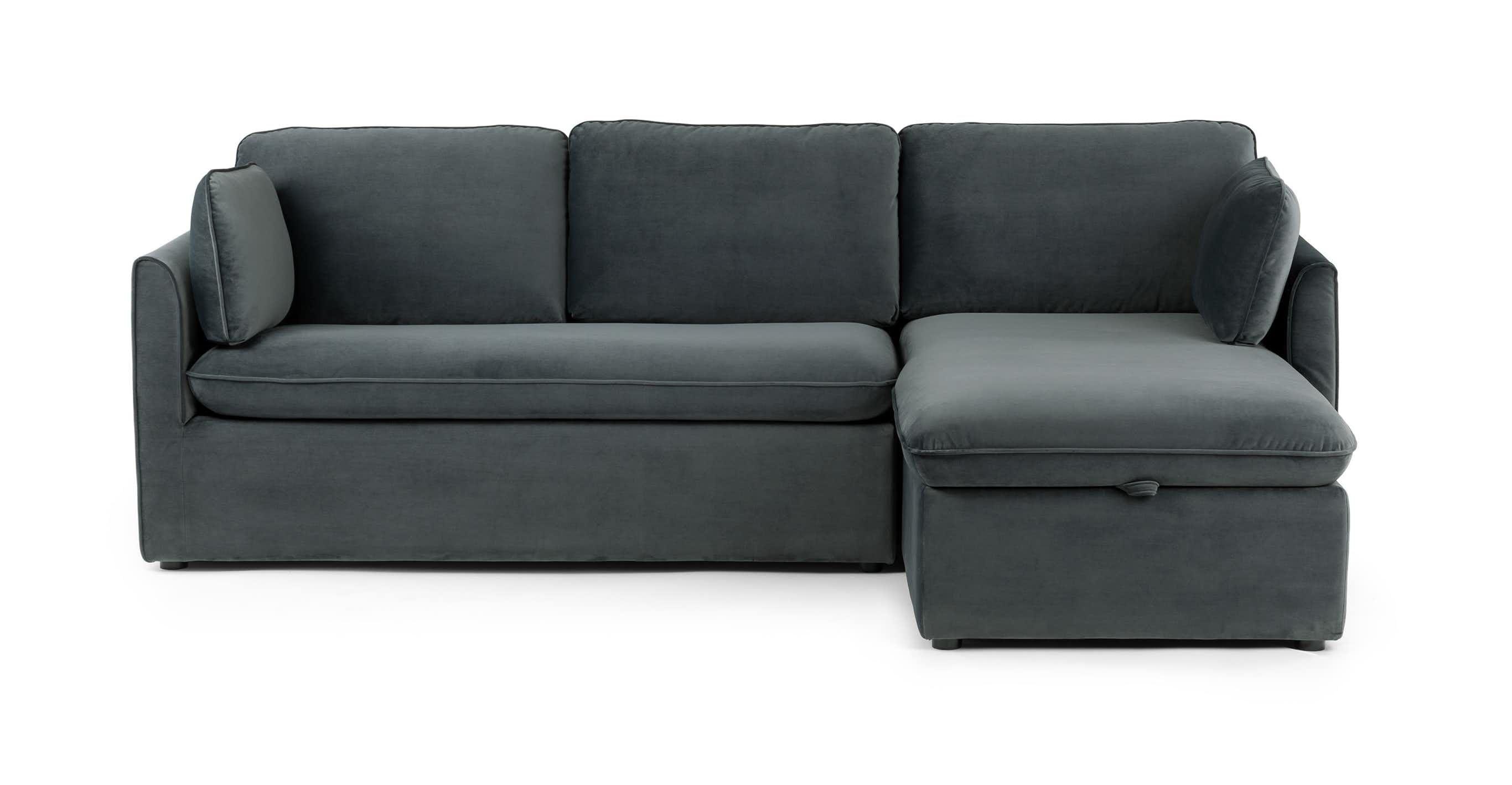 blue gray velvet sofa bed right sectional article oneira modern rh pinterest com