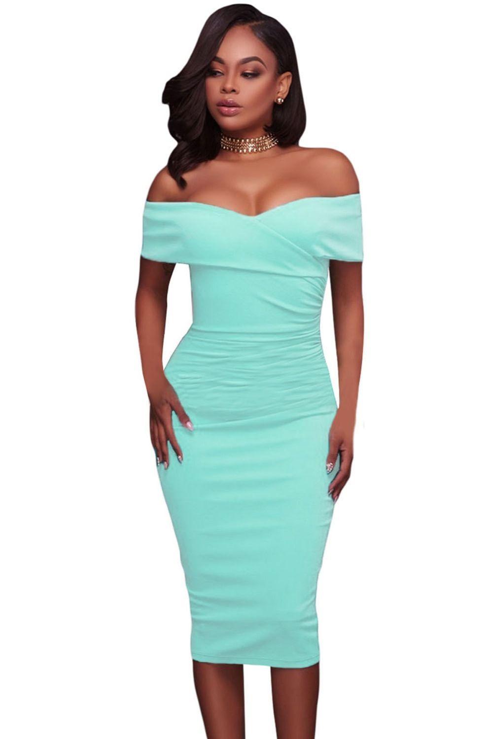 34a8453bef02a9 $37.4 - Cool Dear Lover Off Shoulder Summer Dress 2017 Clothes Women Cyan Ruched  Short Sleeve Bodycon Midi Sheath Dress Vestidos Mujer C61507 - Buy it Now!