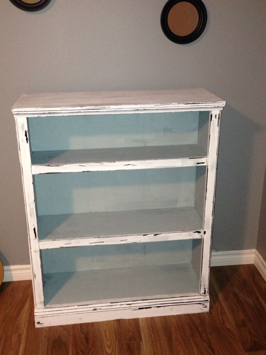A Bookcase I Made Into Distressed Vintage Look Using Americana Decor Chalk Paint In Colors