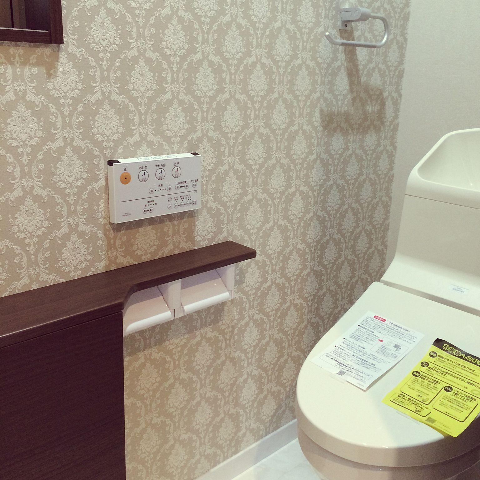 ダマスク柄クロス サンゲツ壁紙 バス トイレのインテリア実例 15 11 15 12 05 39 Roomclip ルームクリップ トイレのアイデア ダマスク柄 ダマスク