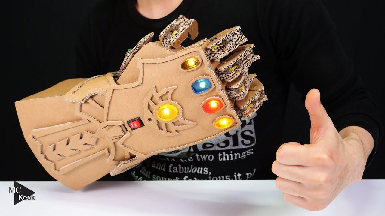 88607efe26 DIY Thanos Infinity Gauntlet(Avengers) from Cardboard - YouTube ...