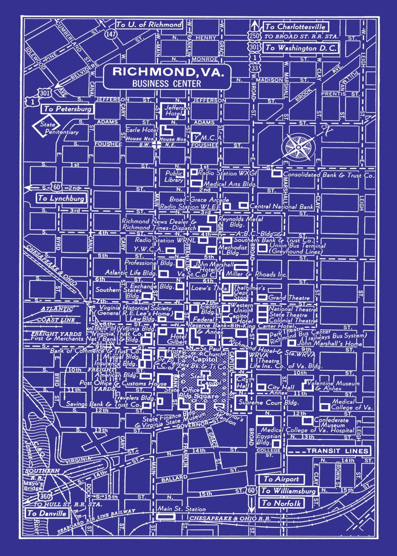 1949 vintage map of downtown richmond blueprint map print poster 1949 vintage map of downtown richmond blueprint map print poster malvernweather Images