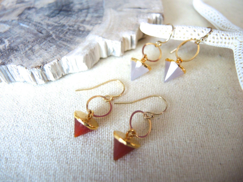 Carnelian Earrings, Pink Chalcedony Earrings, 14K Gold Filled Oval Ring Earrings, Cone Earrings, Gem Stone Earrings, Jewelry Gifts For Her by GemJewelrybyHWestNY on Etsy