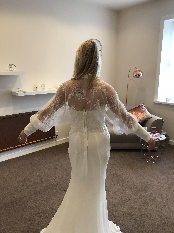 Wedding bridal ivory lace shrug top jacket sleeves coverup one